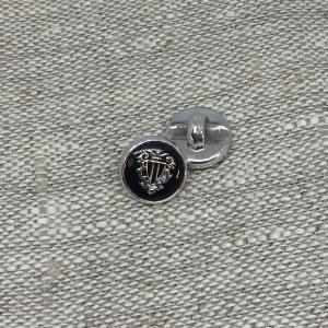 Пуговица ПР195 11 мм черная герб серебро уп 12 шт