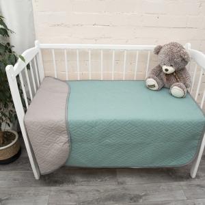 Покрывало детское ультрастеп двухстороннее цвет серый-св.зеленый 105/150