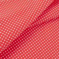 Ткань на отрез бязь плательная 150 см 1359/1 красный фон белый горох