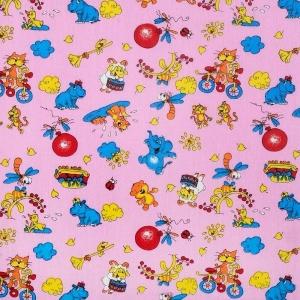 Бязь ГОСТ детская 150 см 383/3 Зоопарк цвет розовый