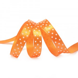 Лента атласная горох ширина 12 мм (27,4 м) цвет 668029 оранжевый-белый