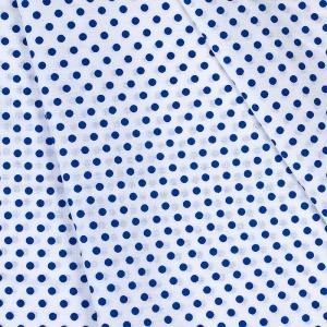 Ткань на отрез бязь плательная 150 см 1359/13А белый фон васильковый горох