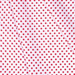 Ткань на отрез бязь плательная 150 см 1359/16А белый фон красный горох