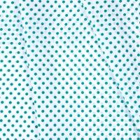 Ткань на отрез бязь плательная 150 см 1359/17А белый фон изумрудный горох