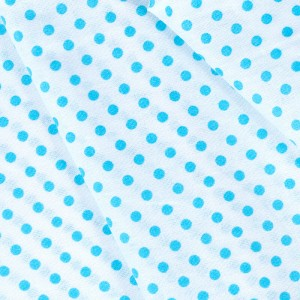 Ткань на отрез бязь плательная 150 см 1359/18А белый фон бирюзовый горох