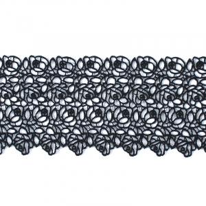 Кружево плетеное СЕВЕР черное CF 2486 9 см упаковка 5 м