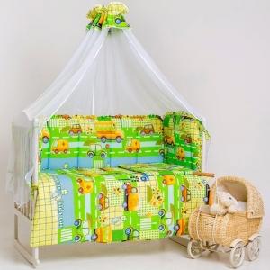 Набор в кроватку 4 предмета с оборками Машинки цвет зеленый