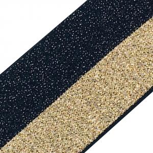 Резинка декоративная 2282 черный золото с люрексом 4см 1 м