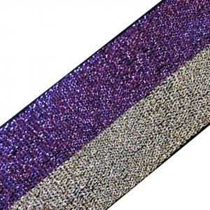 Резинка декоративная №9 люрекс серебро фиолет 3см 1 м