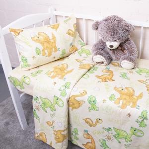 Постельное белье в детскую кроватку из бязи 203131 Динозаврики