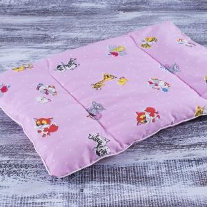Подушка для новорожденных 40/60 цвет розовый с рисунком