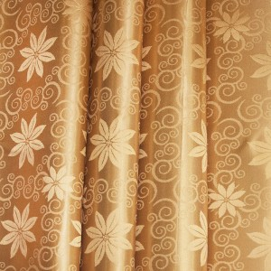 Портьерная ткань 150 см на отрез 37 цвет золото 2 цветы