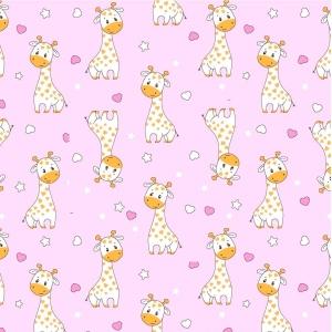 Ткань на отрез фланель 90 см 9980/2 Жирафики цвет розовый
