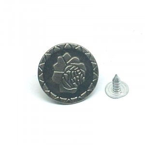 Пуговица джинс ПД085 темное серебро 20мм уп 12 шт