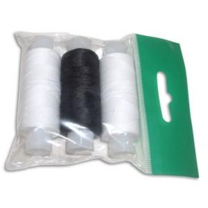 Нитки армированные 45ЛЛ 'Домино' цв.белый, черный, белый уп.3шт 150м, С-Пб