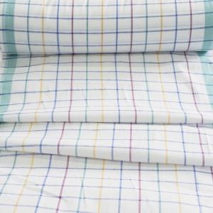 Ткань на отрез полулен полотенечный 50 см 3/60/13 Клетка розово-бирюзовая ива синяя 113358