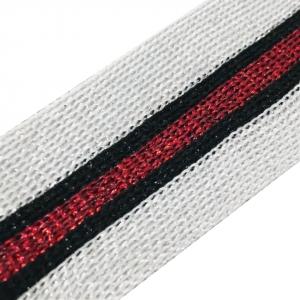 Лампасы №83 серебро красный люрекс 3,5 см 1 метр