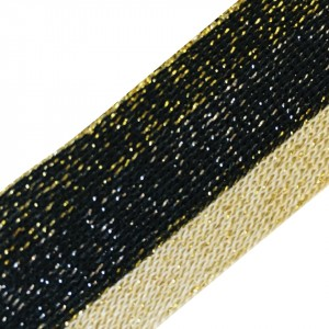 Лампасы №82 черный беж люрекс золото 3 см 1 метр