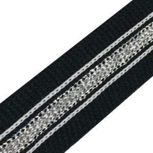 Лампасы №69 черный полоска люрикс серебро белые строчки  2см 1 метр