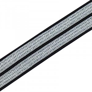 Лампасы №51 черно белые полосы серебро 2 см 1 метр