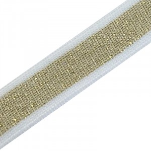 Лампасы №48 золото белые полосы  2 см 1 метр