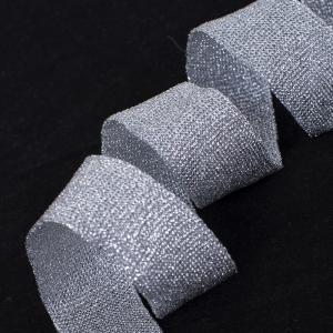 Лампасы №45 серебро с люрексом 2,5 см 1 метр