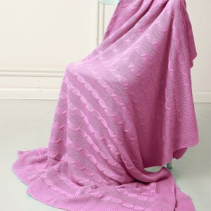 Покрывало-плед Коса 180/200 цвет розовый