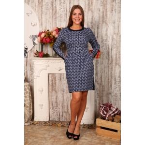 Платье Мария Интерлок огурцы на тем. синем Д412 р 56