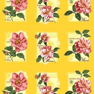 Вафельное полотно набивное 150 см 0098/4 Пионы цвет жёлтый