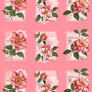 Вафельное полотно набивное 150 см 0098/5 Пионы цвет розовый