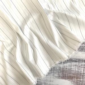 Рубашечная ткань на отрез с люрексом 22-10 Полоса цвет белый