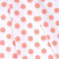 Ткань на отрез бязь плательная 150 см 1422/24А белый фон персиковый горох