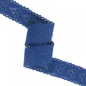 Кружево лен 22136 т.синий 4,5см уп 10 м