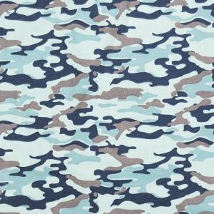Ткань на отрез кулирка карде Камуфляж В голубой R163