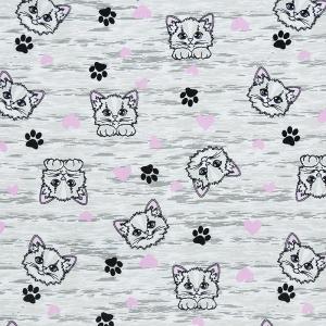 Ткань на отрез кулирка карде Кошки с лапками R76070-V1