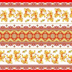 Ткань на отрез вафельное полотно набивное 150 см 328/1 Жар-птица цвет красный