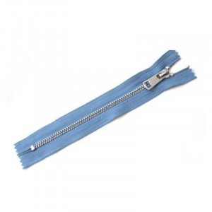 Молния металл №5 никель н/р 18см D231 серый синий