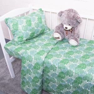 Постельное белье в детскую кроватку из поплина 2008/1 Монстера с простыней на резинке