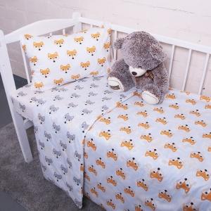 Постельное белье в детскую кроватку из поплина 1824/1+1824/2 с простыней на резинке