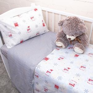 Постельное белье в детскую кроватку из поплина 1823/1+388/17 с простыней на резинке