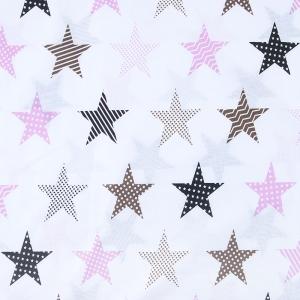 Ткань на отрез бязь плательная 150 см 8104/1 Звезды пэчворк цвет розовый
