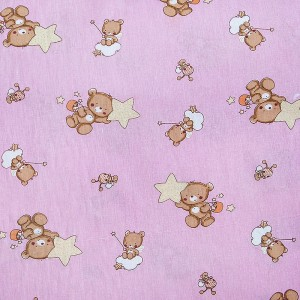 Ткань на отрез бязь 120 гр/м2  детская 150 см 7176 Мишка со звездой розовый