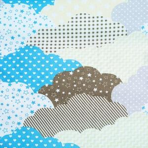 Ткань на отрез бязь плательная 150 см 8074 Облака пэчворк