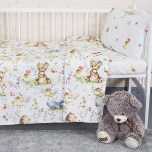 Постельное белье в детскую кроватку 11438/1 Лесные друзья поплин с простыней на резинке
