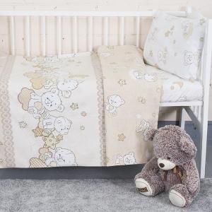 Постельное белье в детскую кроватку 11350/1 Медвежата поплин с простыней на резинке