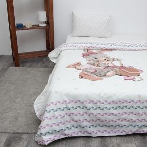 Детское постельное белье из поплина 1.5 сп Зайка-модница