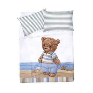 Детское постельное белье Мишка-моряк 1.5 сп поплин