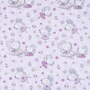 Ткань на отрез поплин 150 см 1953 Мышки-балерины цвет розовый