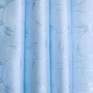 Портьерная ткань 150 см 17 цвет голубой ветка-лист