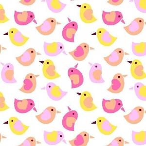 Ткань на отрез фланель 90 см 95033 Птички цвет розовый